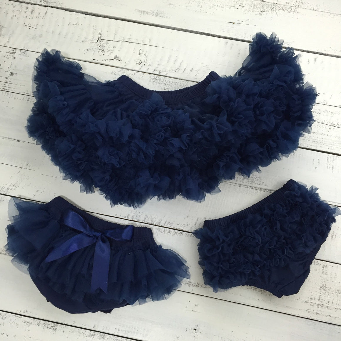 Snowman leg warmers, matching navy flower headband and ruffle bottom bloomers - HoneyLoveBoutique