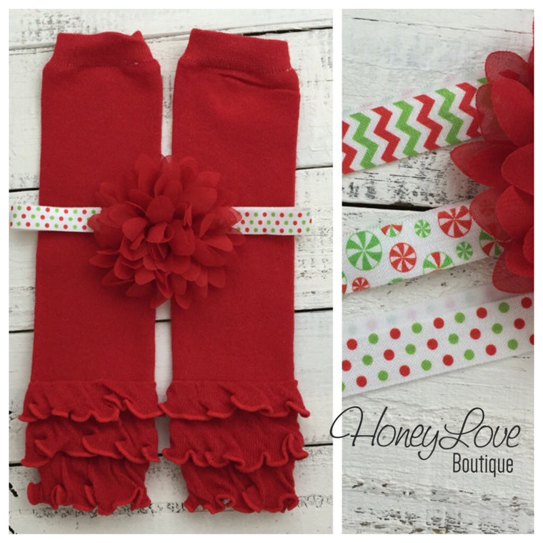 Red ruffle bottom leg warmers and choice of headband