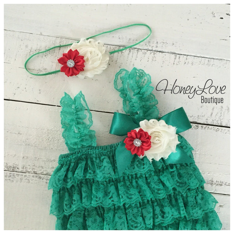 Lace Petti Romper - Embellished Christmas Green with matching headband - HoneyLoveBoutique