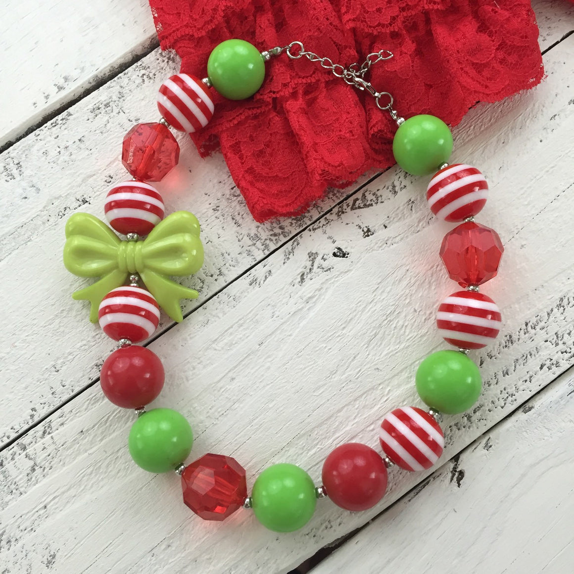 Christmas chunky beaded bubblegum bow necklace, red white lime green stipes, bubble beads newborn infant toddler baby girl Santa photo prop - HoneyLoveBoutique