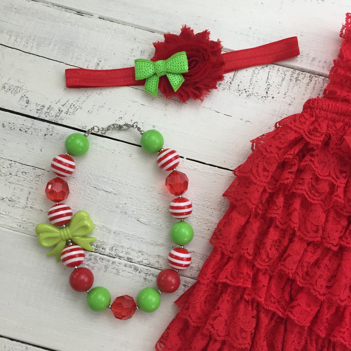 Christmas Red Lace Petti Romper and optional necklace
