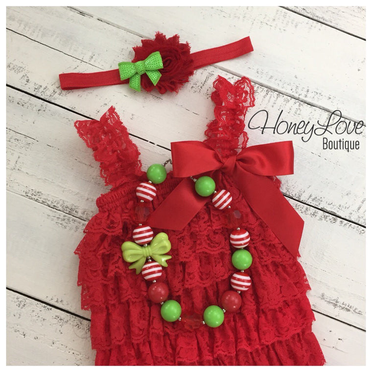 Christmas Red Lace Petti Romper, headband sequin bow shabby flower, chunky bubblegum necklace - newborn infant toddler baby girl Santa photo - HoneyLoveBoutique