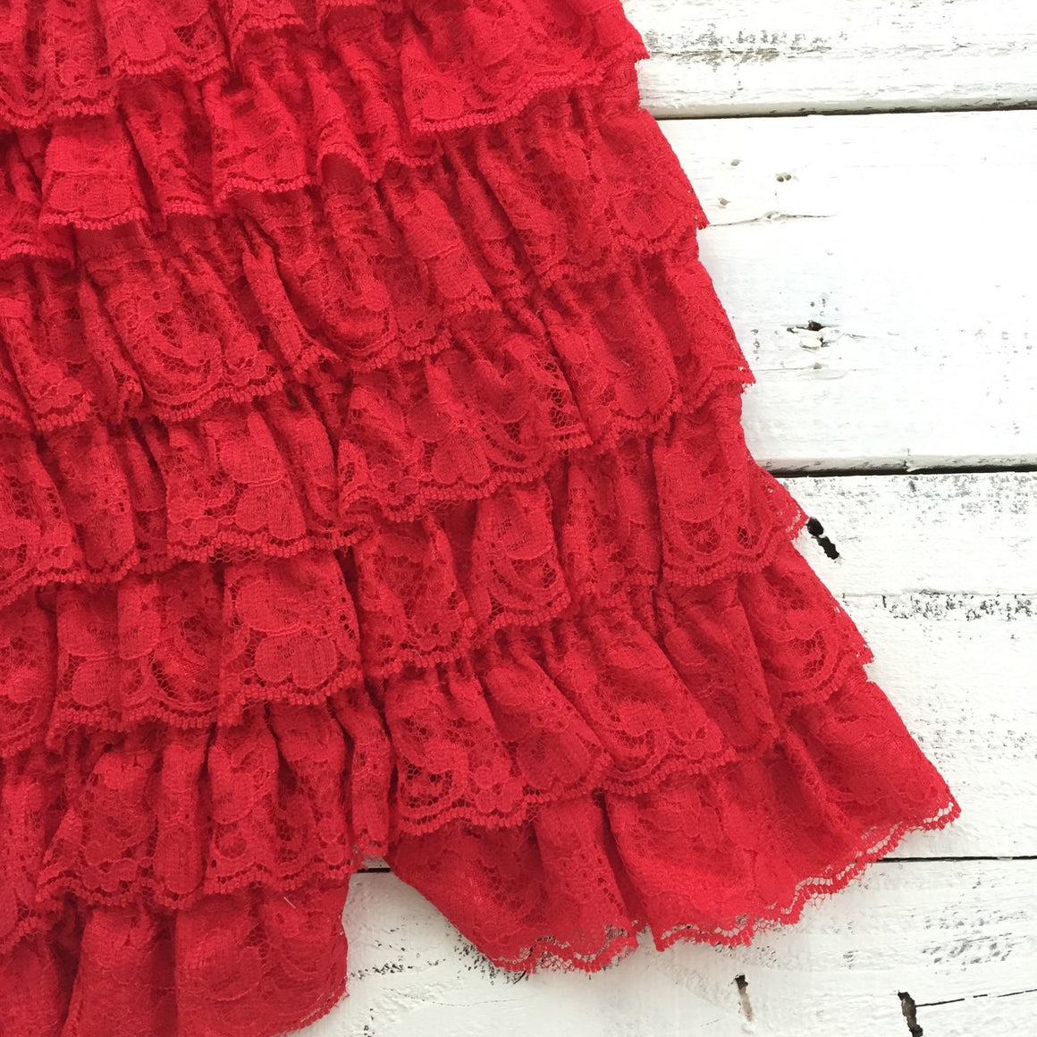 Lace Petti Romper - Embellished Christmas Red Lace Petti Romper and matching red/ivory headband