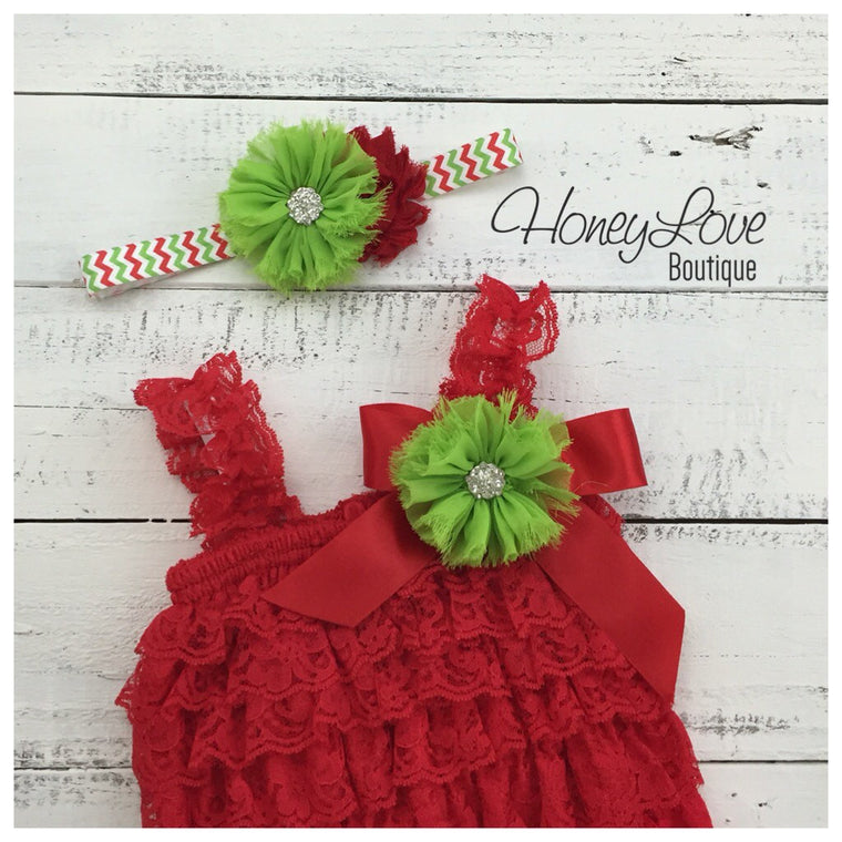 Lace Petti Romper - Embellished Christmas Red Lace Petti Romper and matching headband - HoneyLoveBoutique