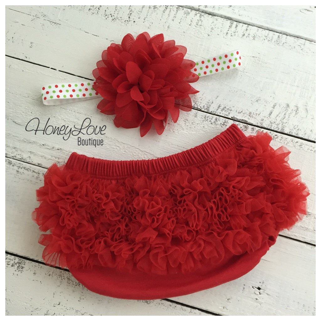 Red Ruffle Bloomer and matching flower headband  - choose elastic style! - HoneyLoveBoutique