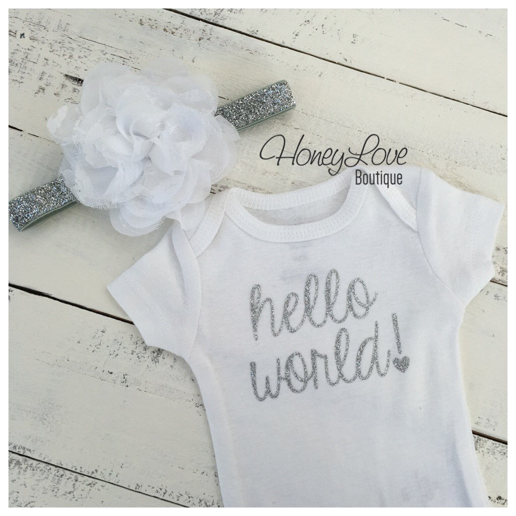 Hello World! Silver glitter bodysuit and headband set - HoneyLoveBoutique