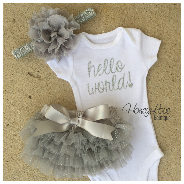 Hello World! Silver Glitter and Gray/Silver Glitter tutu skirt bloomers - HoneyLoveBoutique