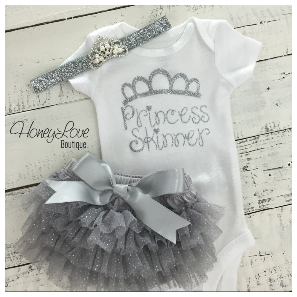 Personalized Princess name outfit - Silver Glitter and Gray/Silver Glitter tutu skirt bloomers