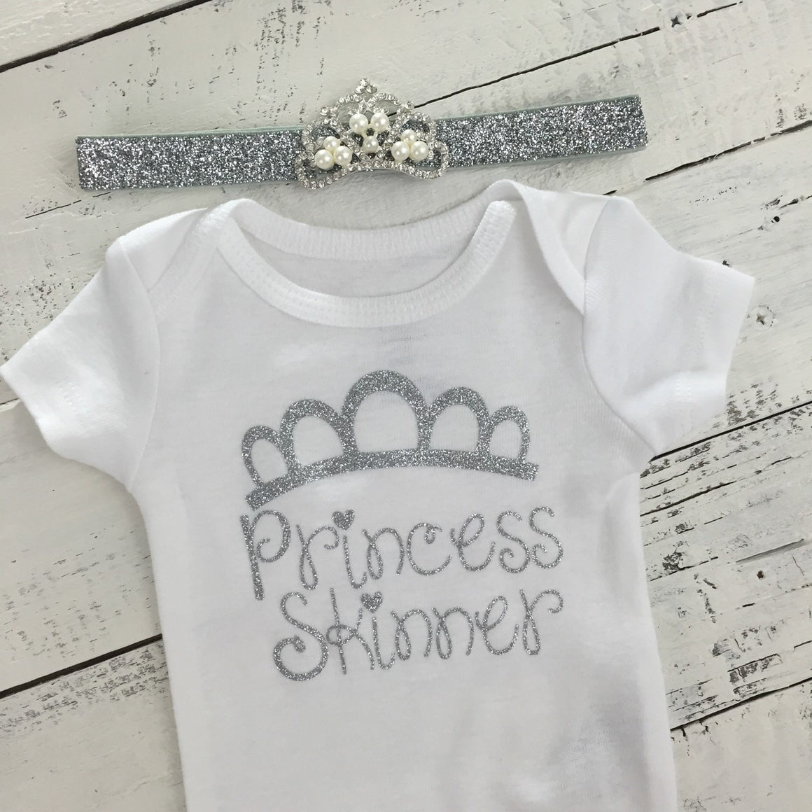 Personalized Princess name outfit - Silver Glitter and Gray/Silver Glitter tutu skirt bloomers - HoneyLoveBoutique