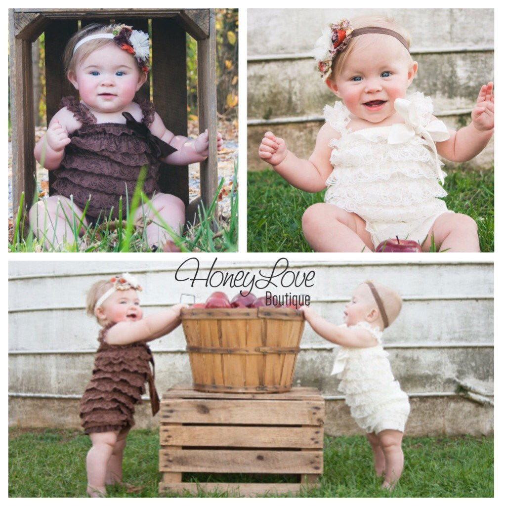 Fall Outfit - Lace Petti Romper - Orange Ivory Brown Champagne - matching headband rhinestone pearl - newborn, infant, toddler, baby girl - HoneyLoveBoutique
