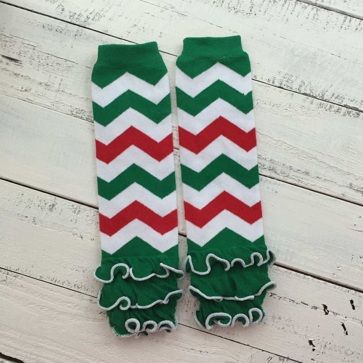 Red Green White Chevron leg warmers and optional headband - HoneyLoveBoutique