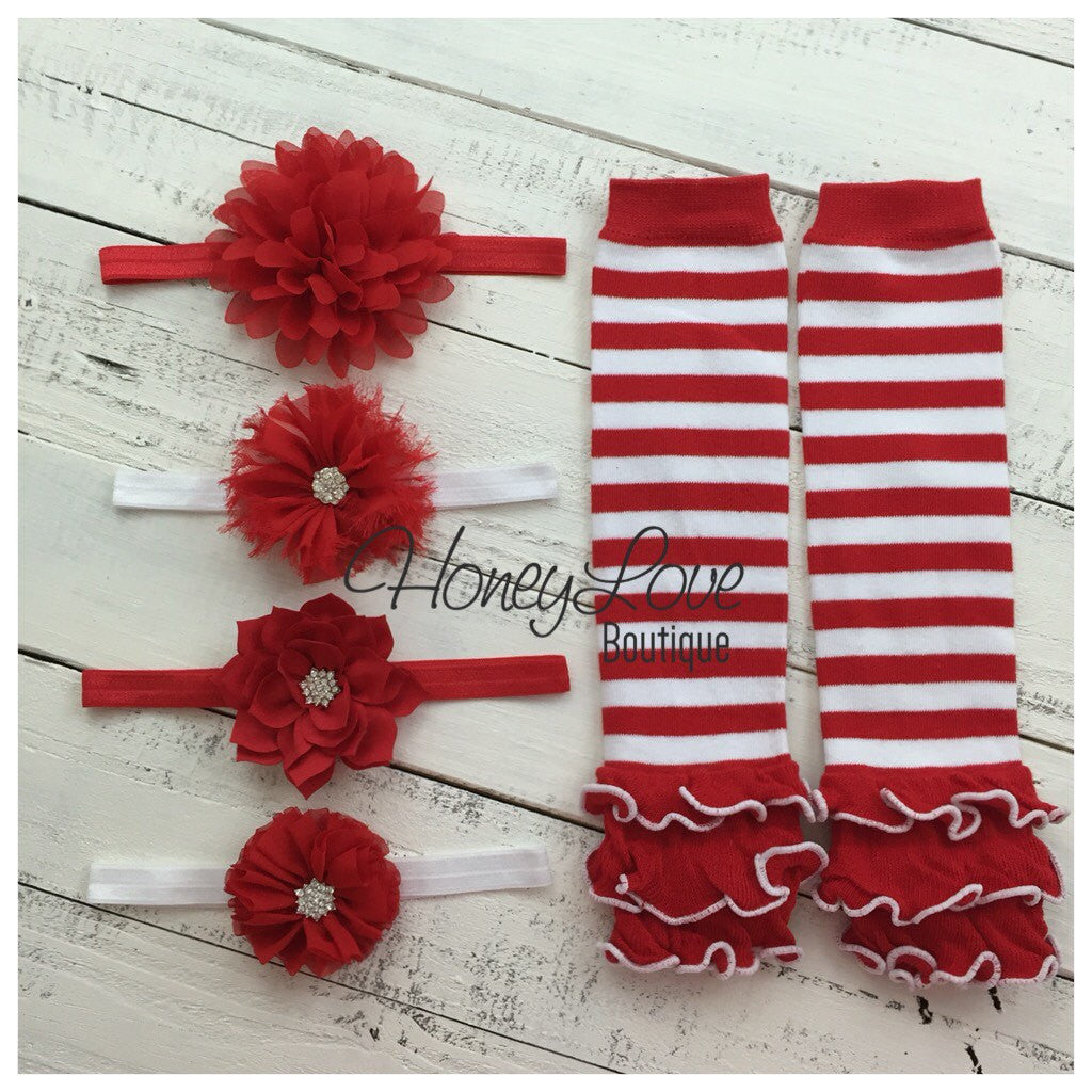 Red and White Stripe leg warmers and choice of red flower headband - HoneyLoveBoutique