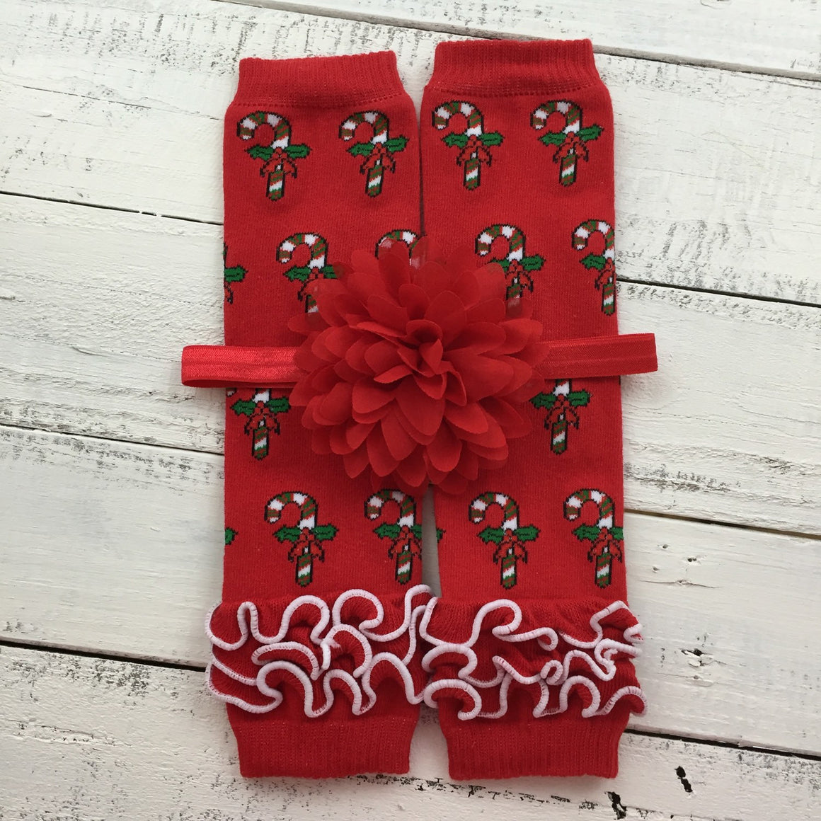 CHOOSE! Red Candy Cane leg warmers, shabby flower rhinestone bow headband - Christmas Outfit Set infant baby toddler little girl - HoneyLoveBoutique
