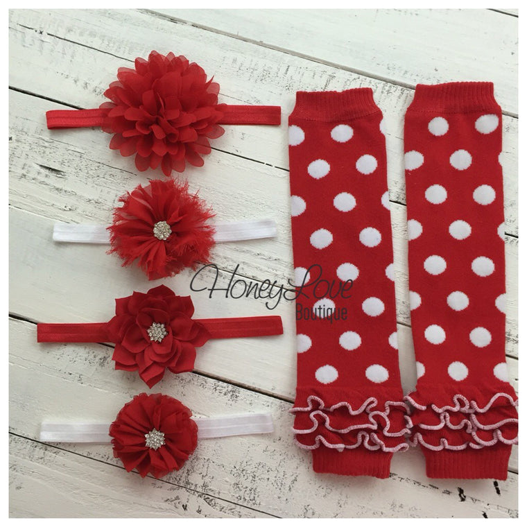 CHOOSE! Red White Polka Dot leg warmers, shabby flower rhinestone bow headband Valentine's Outfit Set infant baby toddler little girl - HoneyLoveBoutique