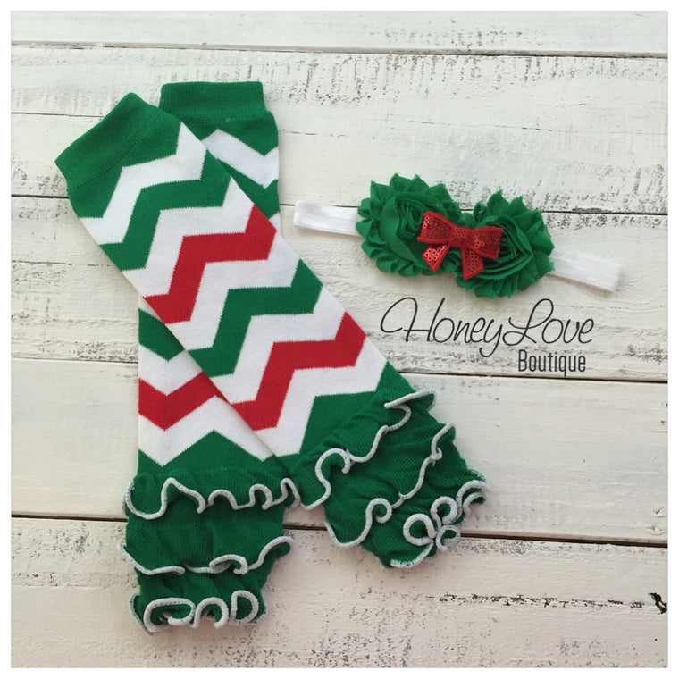 Red Green White Chevron leg warmers and optional headband