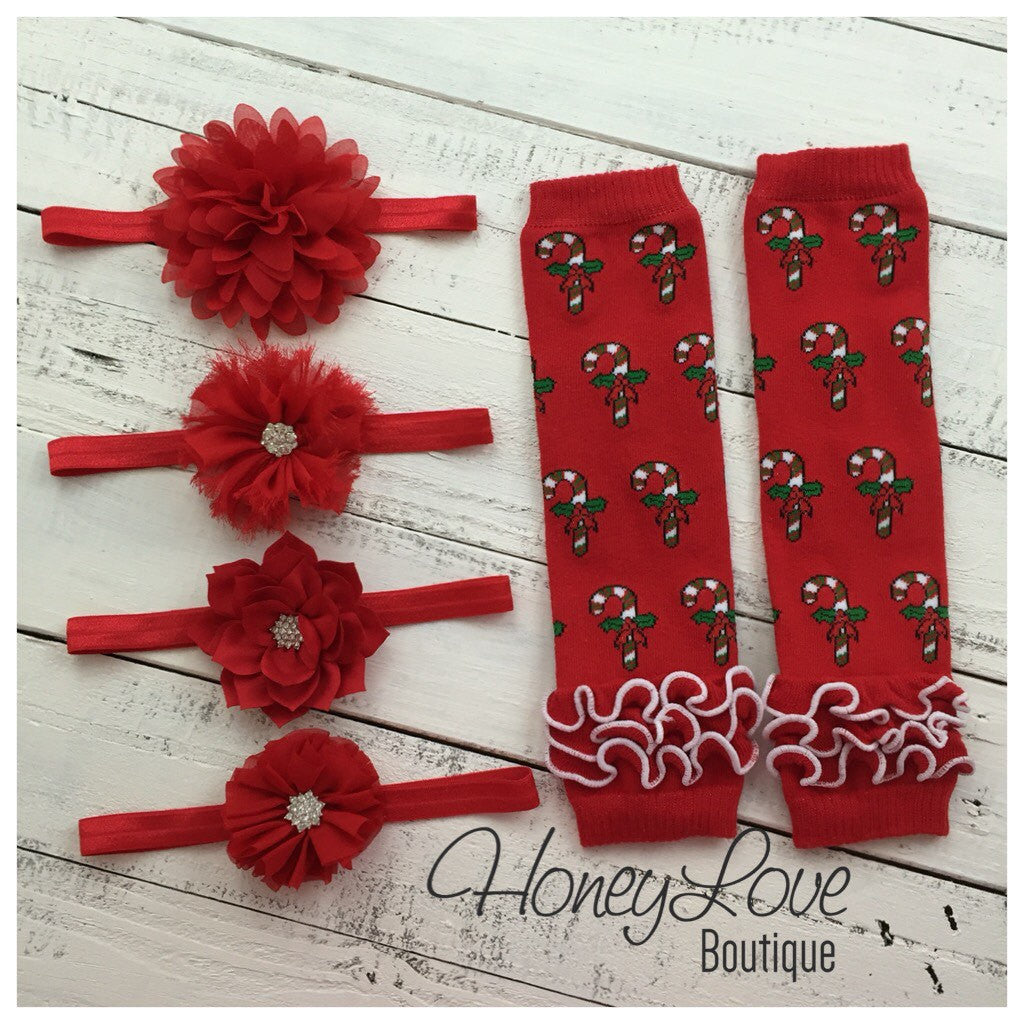 Red Candy Cane leg warmers and your choice of headband