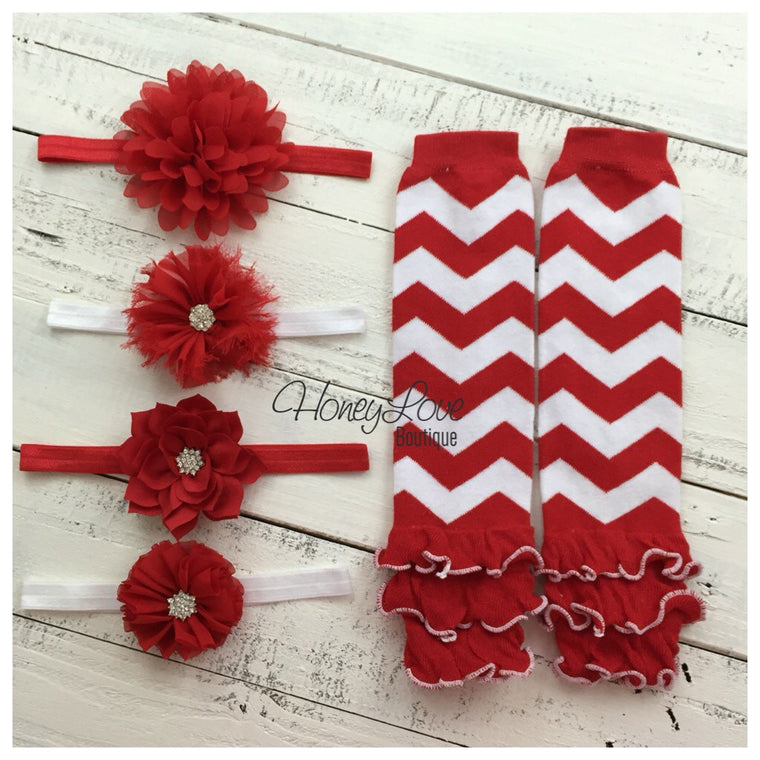 CHOOSE! Red White Chevron zig zag leg warmers, shabby flower rhinestone bow headband Valentine's Outfit Set infant baby toddler little girl - HoneyLoveBoutique