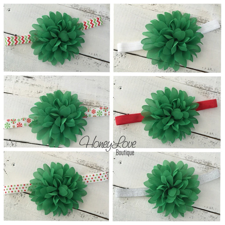 Christmas Green flower headband  - choose elastic!