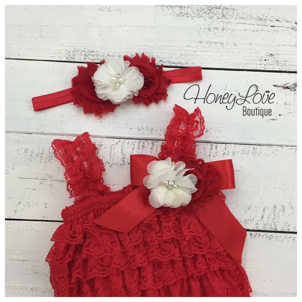 Lace Petti Romper - Embellished Christmas Red Lace Petti Romper and matching red/ivory headband - HoneyLoveBoutique