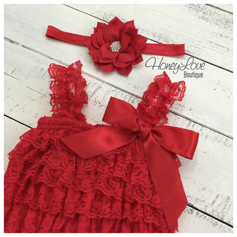 Lace Romper - Christmas Red Lace Petti Romper and matching poinsettia headband