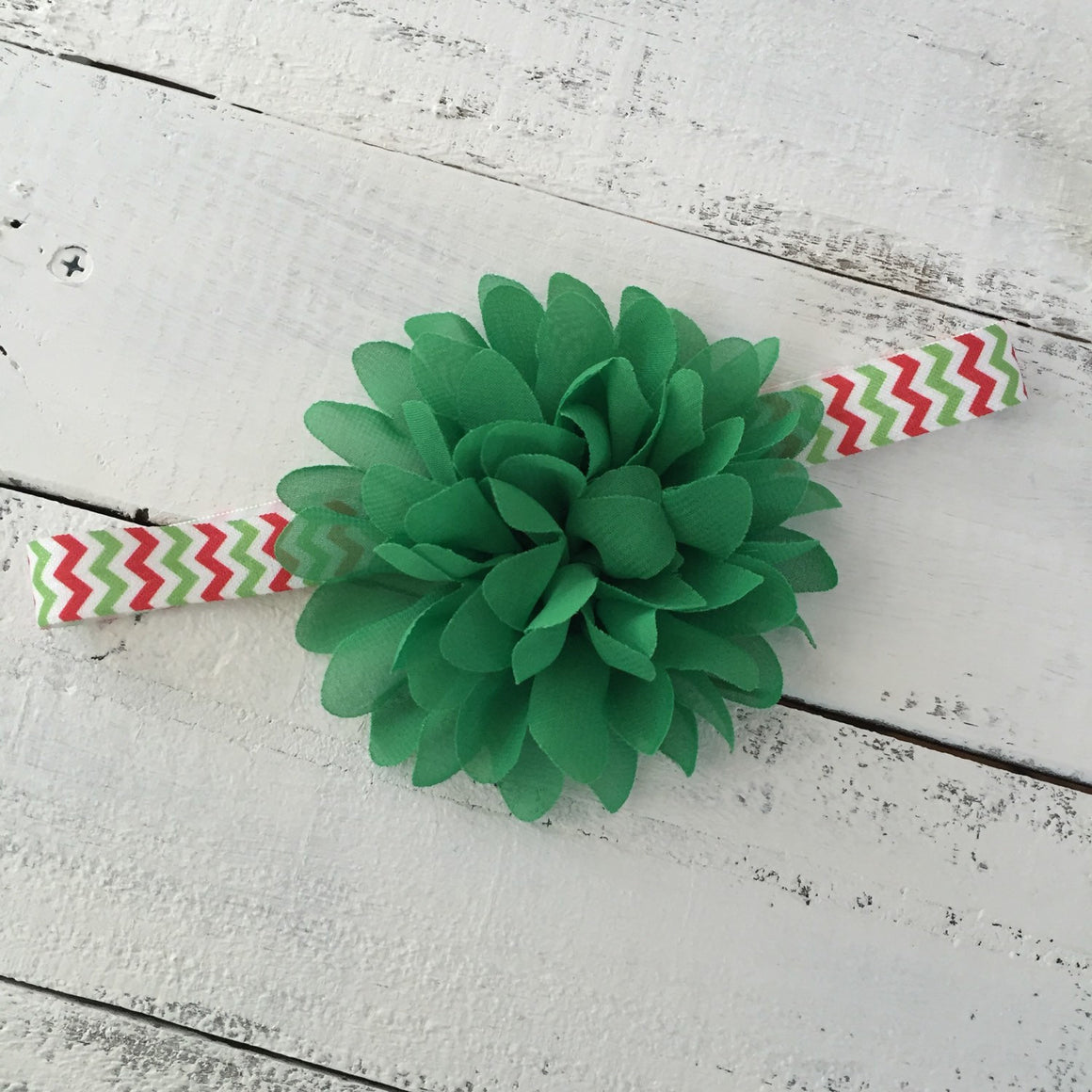 Christmas Green flower headband  - choose elastic! - HoneyLoveBoutique