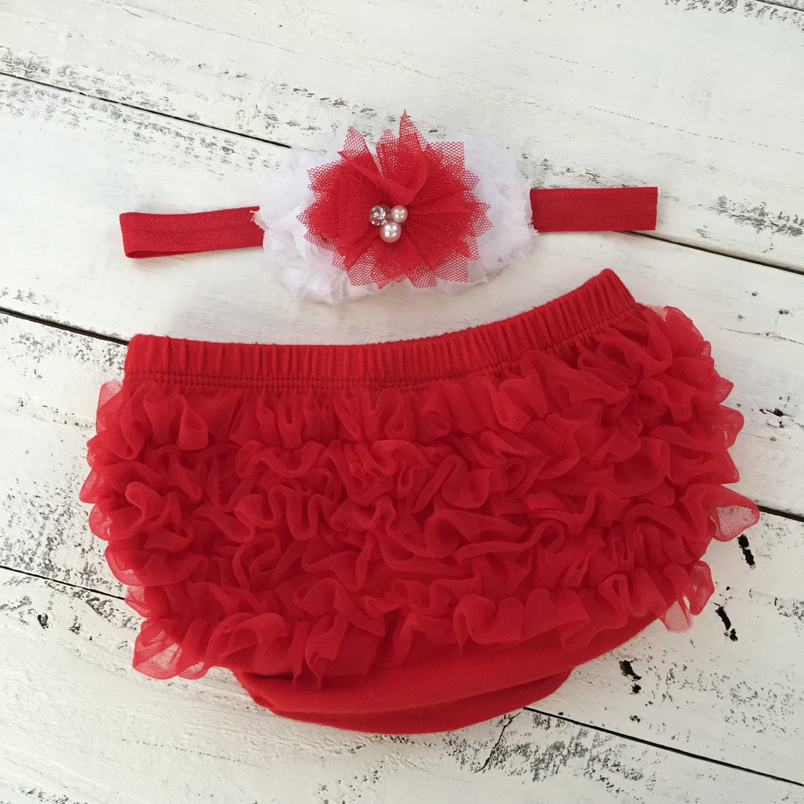 Red/White Chevron leg warmers, matching headband bow, ruffle bottom bloomers