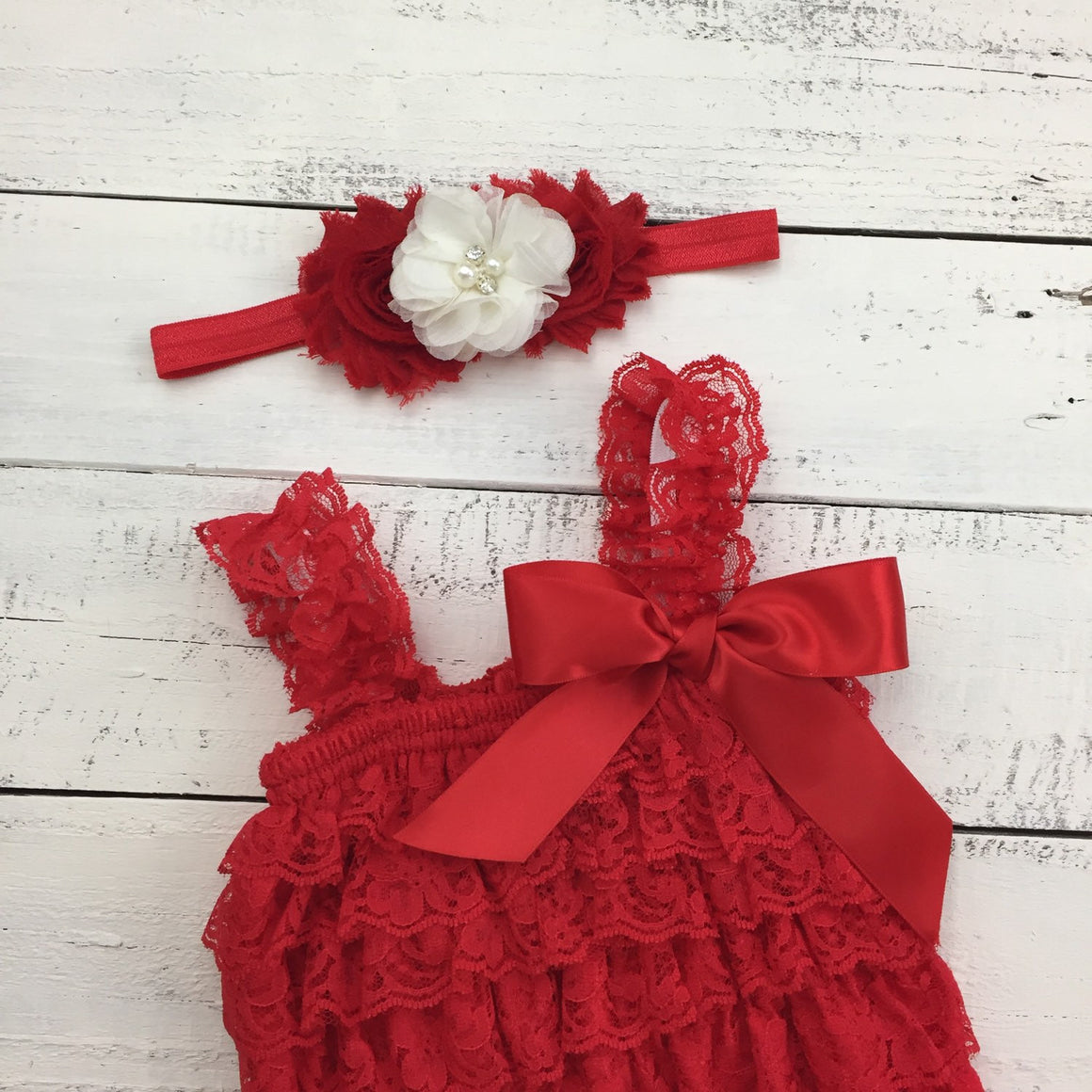 Christmas Red Lace Petti Romper and matching rhinestone pearl ivory flower headband - newborn infant toddler baby girl - Santa photo outfit - HoneyLoveBoutique