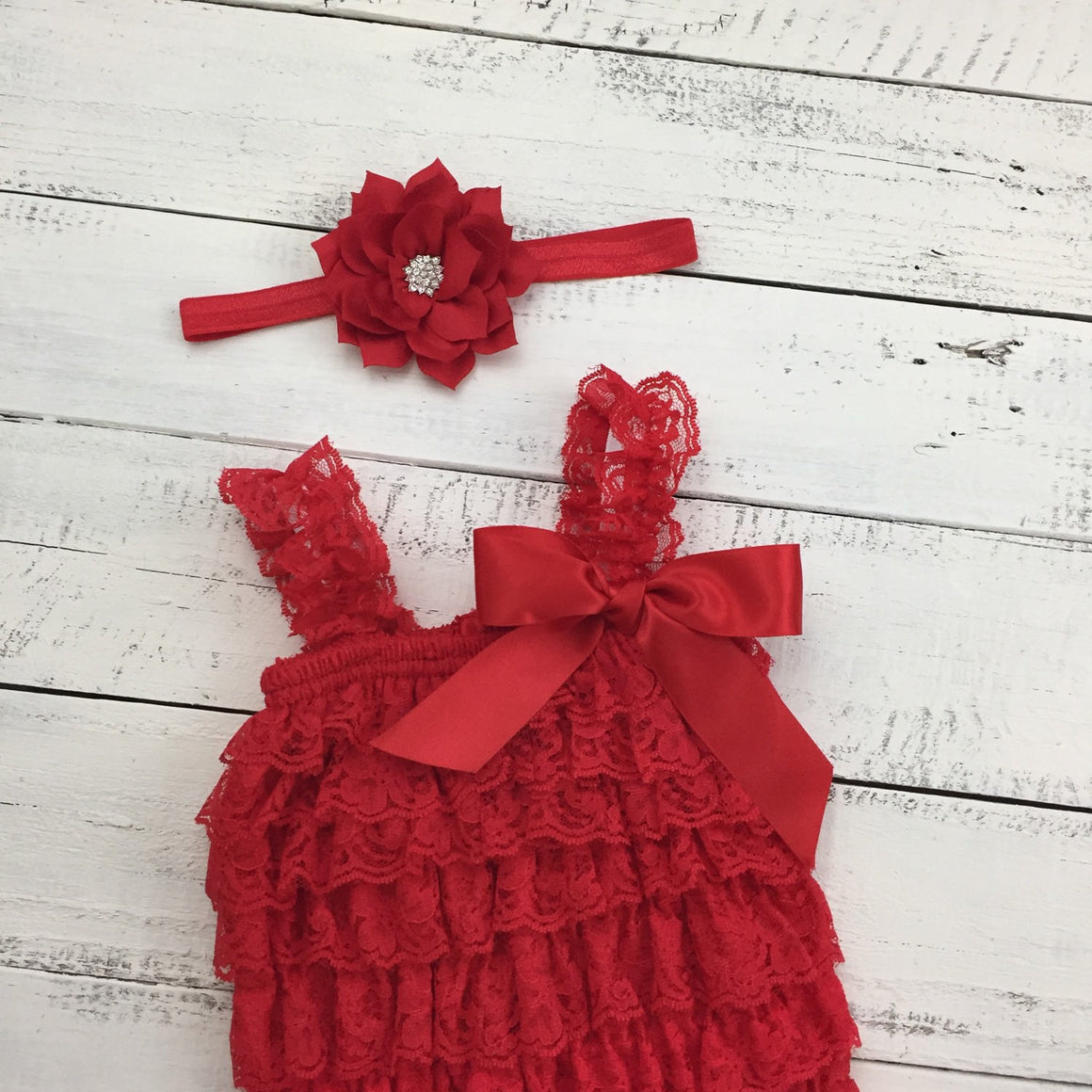 Lace Romper - Christmas Red Lace Petti Romper and matching poinsettia headband - HoneyLoveBoutique