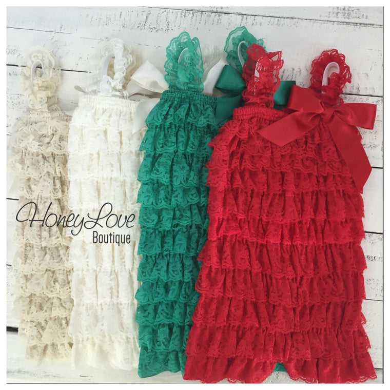 Lace Petti Romper - Red, Green, Ivory, Champagne - HoneyLoveBoutique