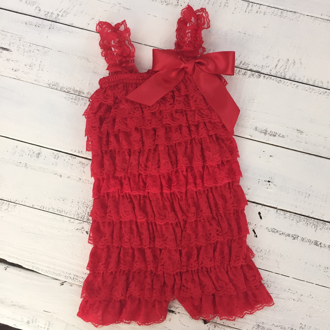 Lace Petti Romper - Red, White, Royal Blue, Navy - HoneyLoveBoutique
