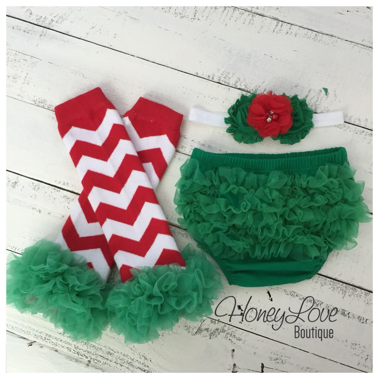Red/White/Green Chevron leg warmers, matching headband, green ruffle bottom bloomers - HoneyLoveBoutique