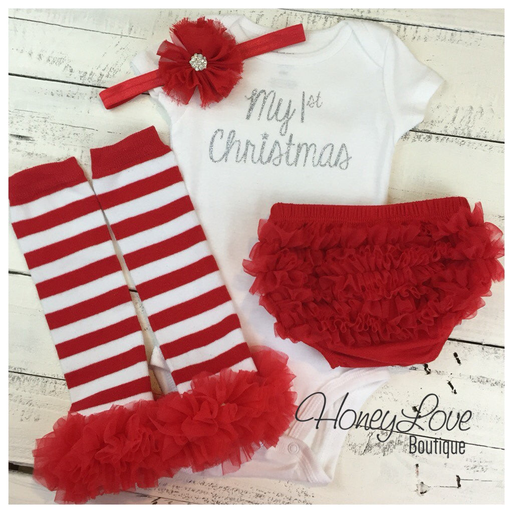 1st Christmas Outfit Set glitter shirt red white leg warmers rhinestone headband bow ruffle bottom diaper bloomers newborn infant baby girl - HoneyLoveBoutique