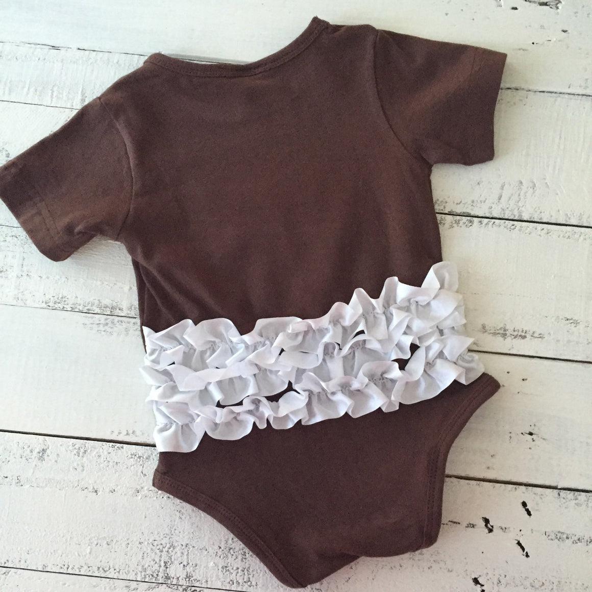 Ruffle Bottom Football bodysuit and optional headband and leg warmers - HoneyLoveBoutique