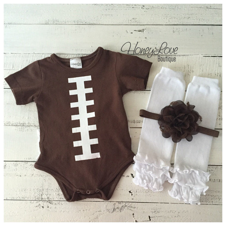 Ruffle Bottom Football bodysuit  - optional headband and leg warmers - HoneyLoveBoutique