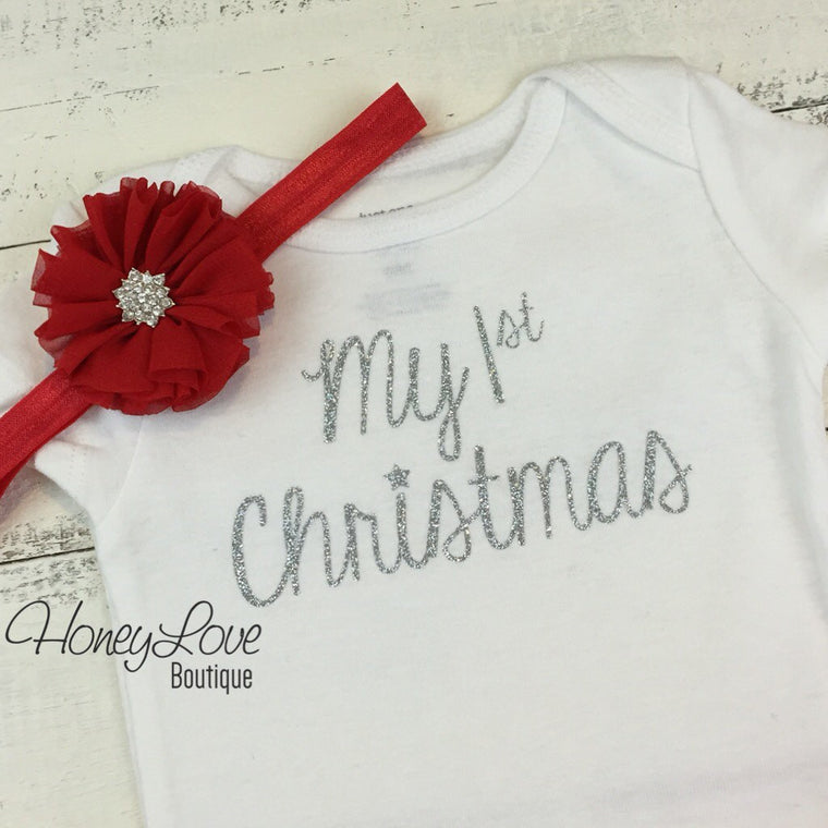 1st Christmas Outfit Set, silver or gold glitter shirt bodysuitt, red flower rhinestone headband bow newborn infant baby toddler little girl - HoneyLoveBoutique