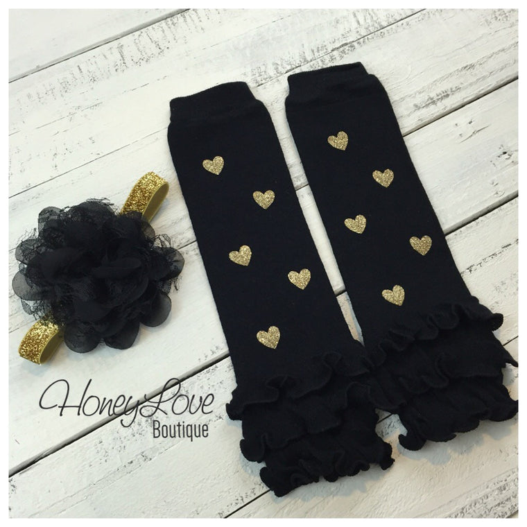 Black Leg Warmers with Gold Glitter Hearts and matching headband - HoneyLoveBoutique