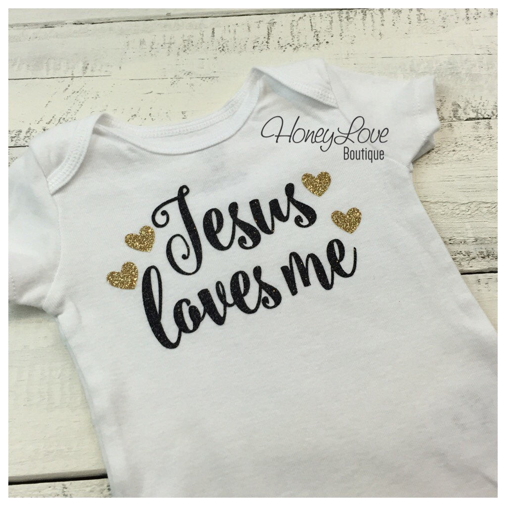 Jesus loves me - Black and Gold Glitter bodysuit - HoneyLoveBoutique