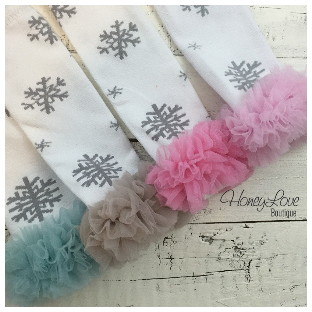 Snowflake Leg Warmers - Grey, Blue, Pink, White, Red