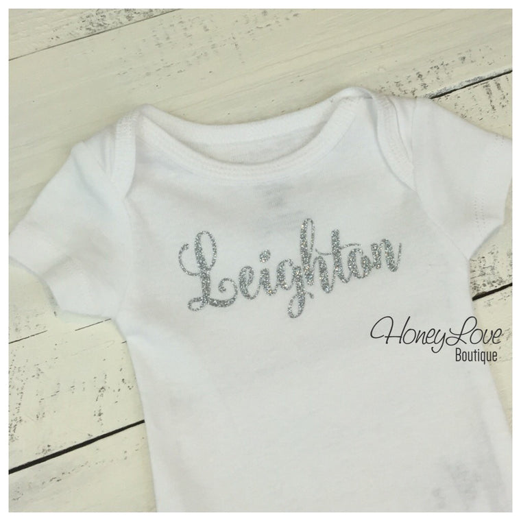 Personalized NAME Custom Personalization shirt bodysuit, Silver or Gold glitter sparkle sparkly sparkling - Newborn infant toddler baby girl - HoneyLoveBoutique