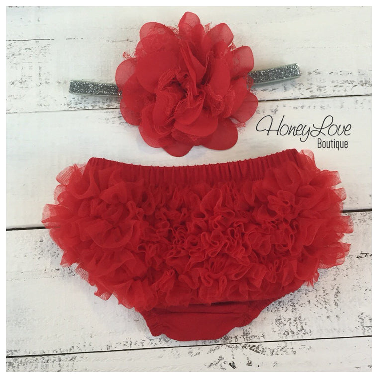 Red ruffle bottom bloomers and Silver/Gold flower headband