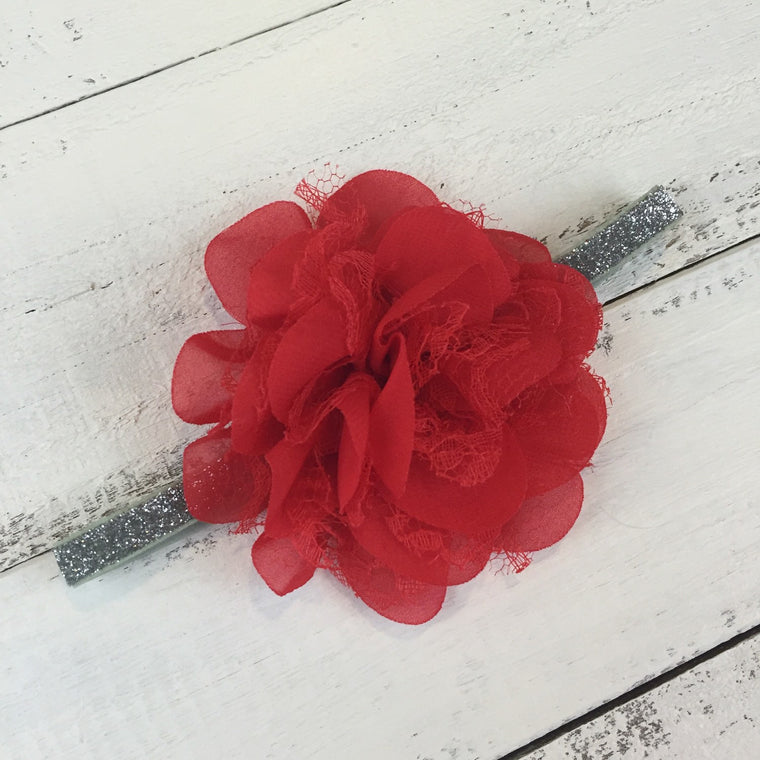 Red chiffon/lace layered flower and Silver/Gold glitter band