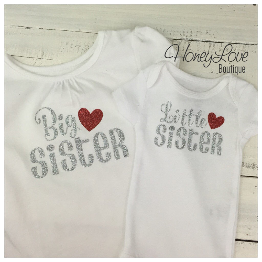 Sister bodysuits and shirts - Silver/Red glitter