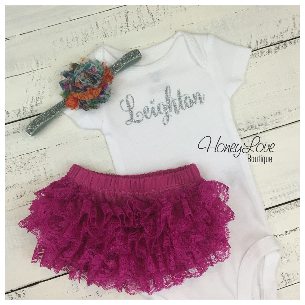 Personalized name outfit - Silver/Gold glitter and plum lace bloomers