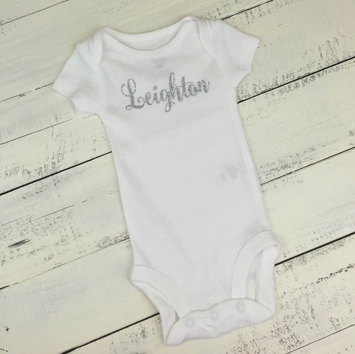 Personalized Name Bodysuit - Silver/Gold