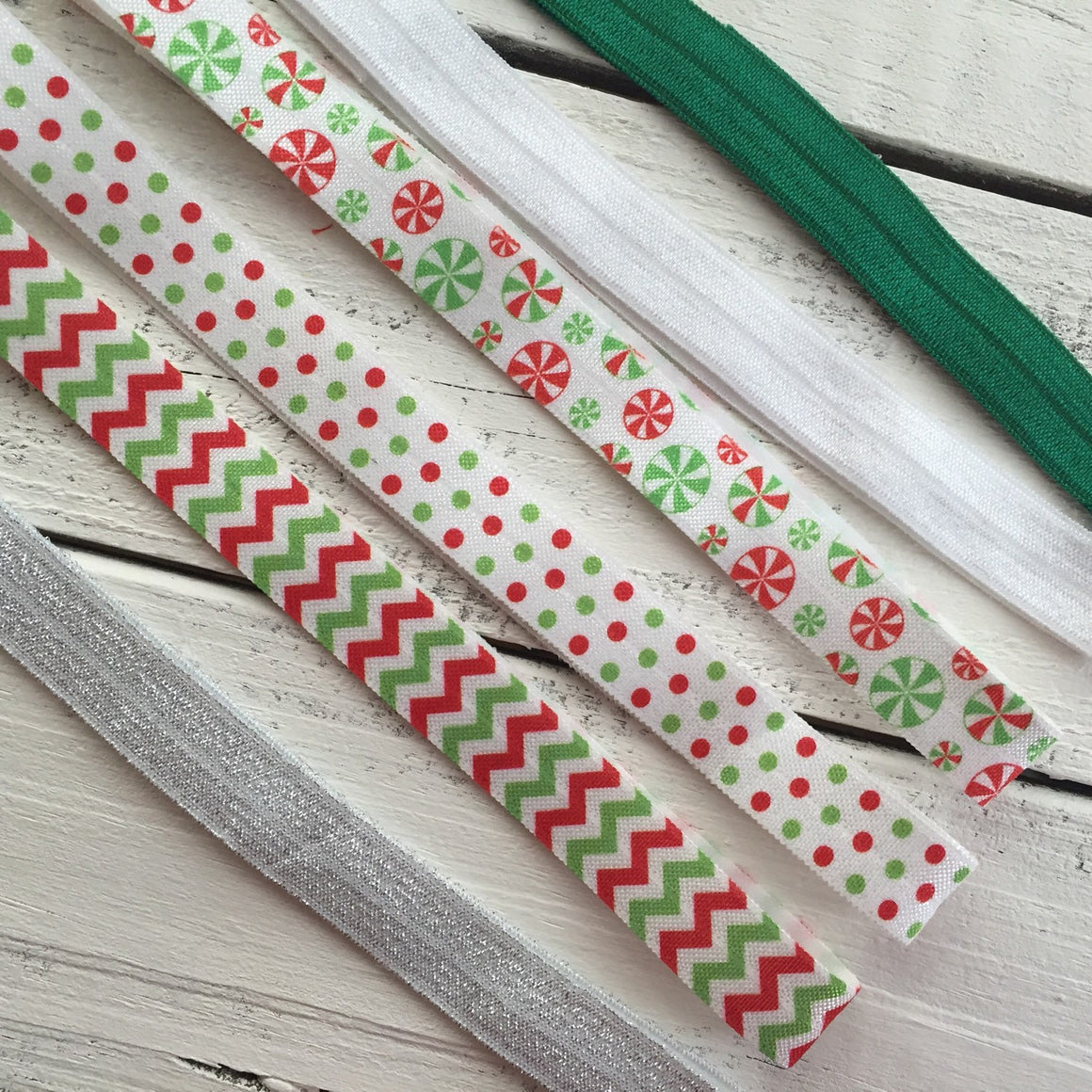 Christmas Headband - Shabby Flower - Sequin Bow - Chevron, Polka Dot, Candy Cane