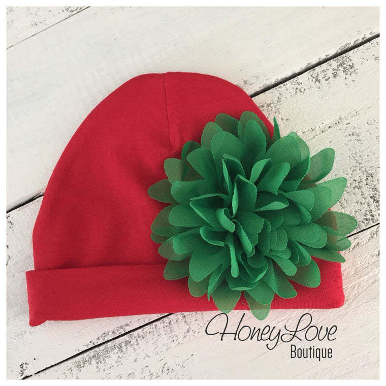 Christmas beanie, newborn Hospital Hat, infant beanie, Christmas baby girl take home outfit, red hat with green flower - newborn infant cap - HoneyLoveBoutique