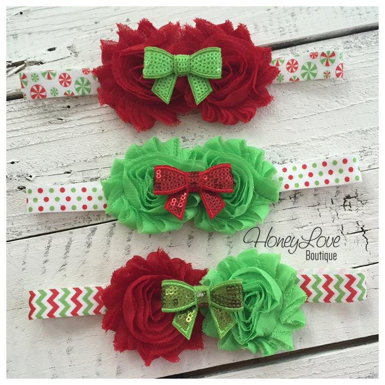 Christmas Headband - Shabby Flower - Sequin Bow - Chevron, Polka Dot, Candy Cane - HoneyLoveBoutique