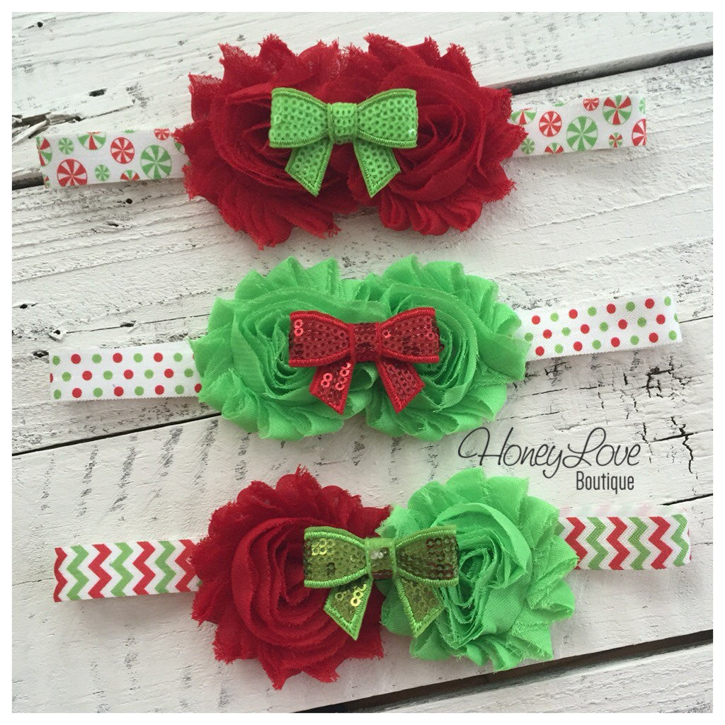 MORE CHOICES! Christmas Headband - Shabby Flower - Sequin Bow - Chevron, Polka Dot, Candy Cane - little girls newborn infant toddler baby - HoneyLoveBoutique