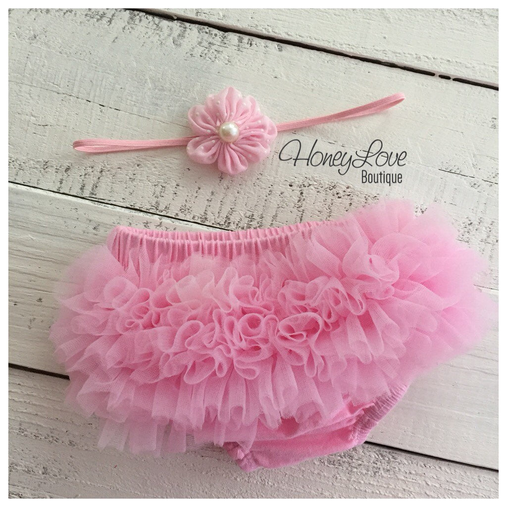 Light Pink ruffle bottom bloomers and polka dot flower skinny headband - HoneyLoveBoutique