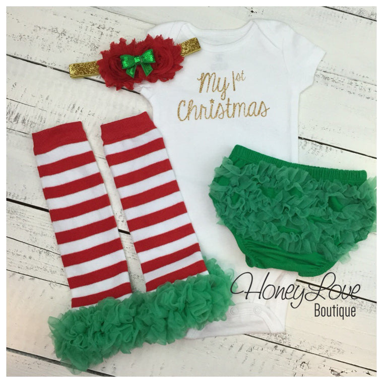 1st Christmas Outfit Set gold glitter shirt red white leg warmers sequin headband bow green ruffle bottom diaper bloomers infant baby girl - HoneyLoveBoutique